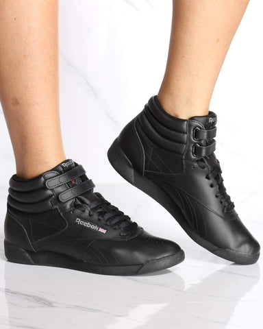 REEBOK-Women's Freestyle Hi Top Sneaker - Black-VIM.COM