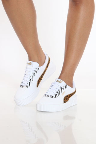 Women's Carina Animal Mix Sneaker - White Leopard