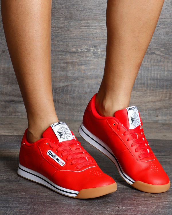 REEBOK-Women's Princess Fitness Low Top Sneaker - Red White-VIM.COM
