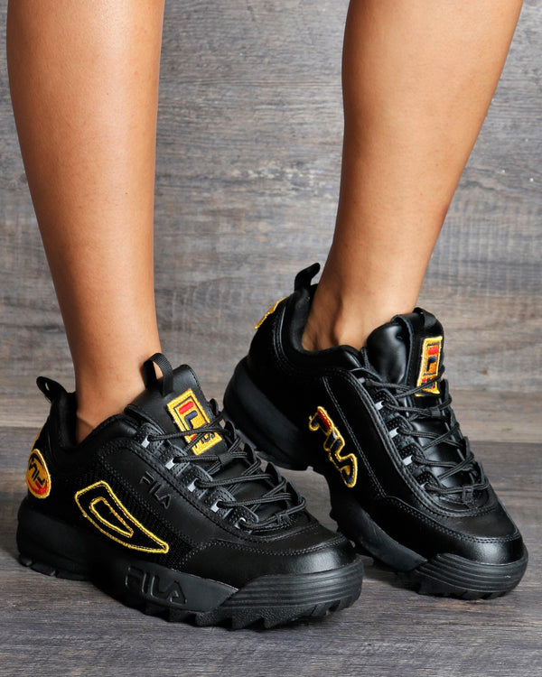 FILA Disruptor Ii Patches Sneakers - Black Yellow - ShopVimVixen.com