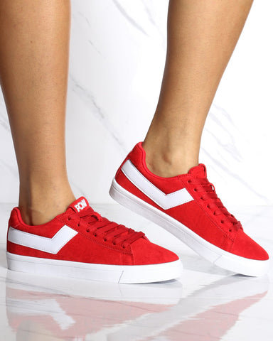 Women's Classic Low Suede Sneaker - Red-VIM.COM