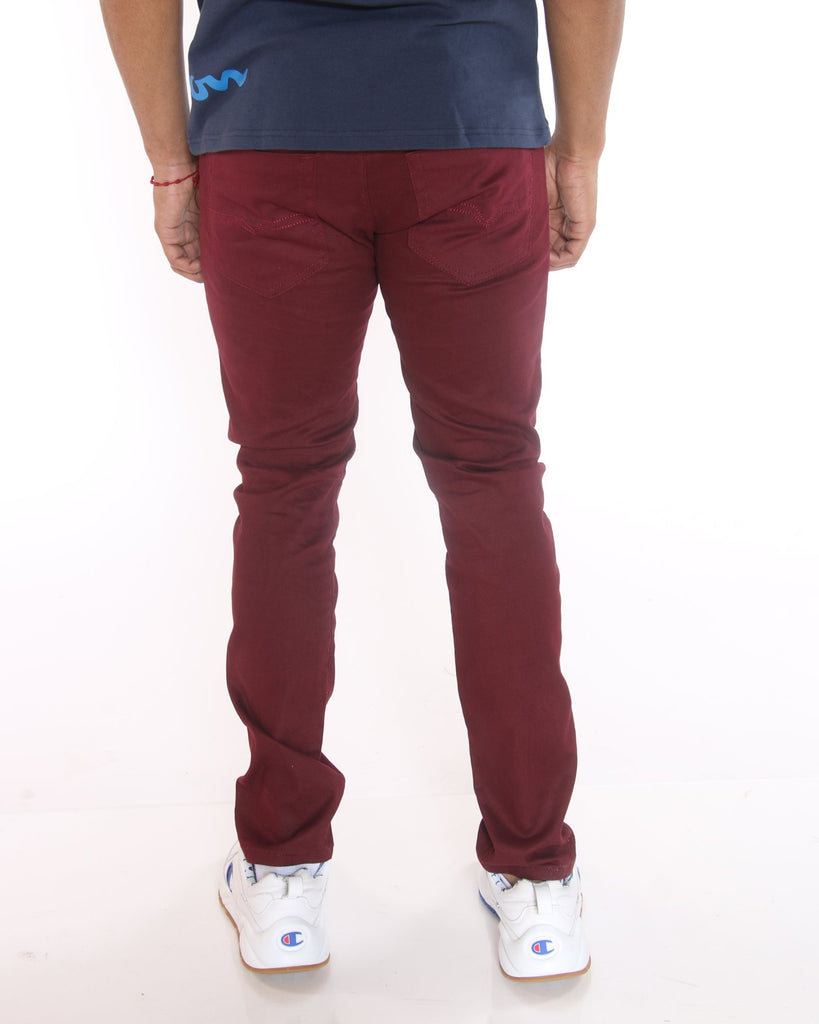 VIM John Twill Embroidered Pocket Pant - Burgundy - Vim.com