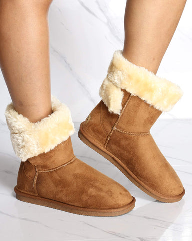 Women's Carmella Fur Boot - Chestnut-VIM.COM