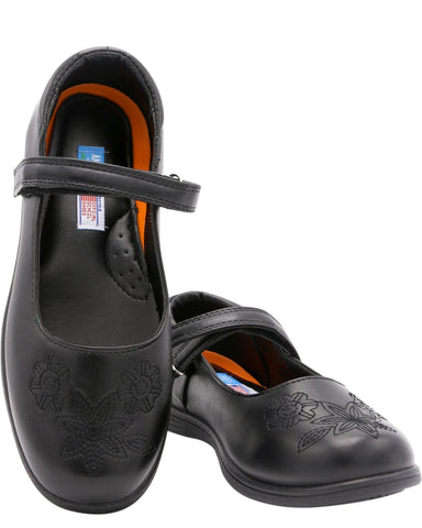 VIM Girl'S Flower Memory Foam School Shoes (Pre School/Grade School) - Black - Vim.com