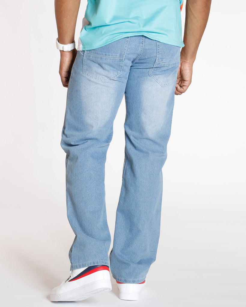 VIM Relax Fit Embroidery Pocket Jean - Light Blue - Vim.com