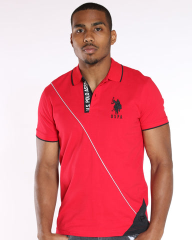U.S. POLO ASSN. U.S. Polo Assn. Color Block Diagonal Line Tee - Red - Vim.com