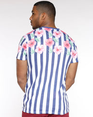 VIM Floral And Vertical Stripes Tee - Navy - Vim.com