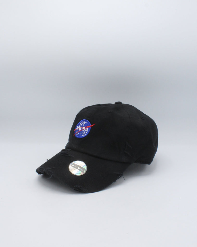 VIM Black Nasa Disressed Dad Hat - Vim.com