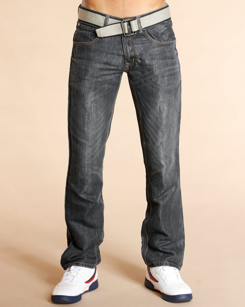 VIM Belted Embroidered Pocket Jeans - Black - Vim.com