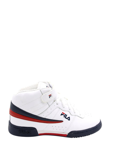 FILA-Boys F-13 Mid Sneaker (Grade School) - White Navy Red-VIM.COM