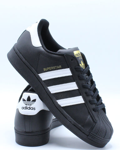 ADIDAS-Superstar Sneaker (Grade School) - Black White-VIM.COM