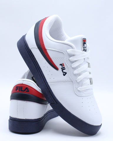FILA-Vulc 13 Low Sneaker (Grade School) - White Navy Red-VIM.COM