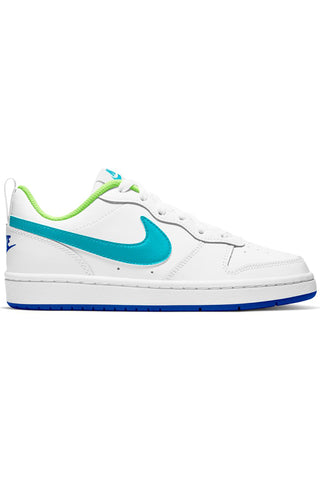 NIKE-Kid's White Court Borough Low 2 Shoe (Grade School) - White Blue-VIM.COM