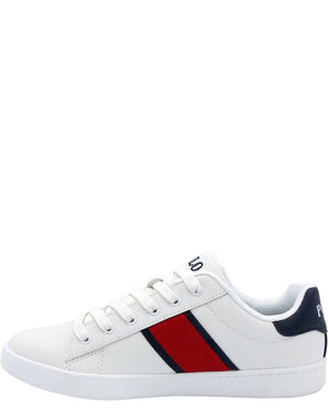 POLO RALPH LAUREN Quilton Bear Sneaker (Grade School) - White Navy Red - Vim.com