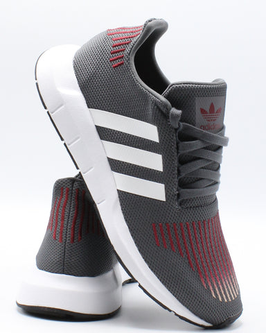 ADIDAS-Swift Run J Sneaker (Grade School) - Grey White-VIM.COM