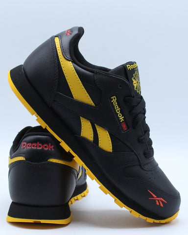 REEBOK-Classic Leather Mu Sneaker (Grade School) - Black Yellow-VIM.COM