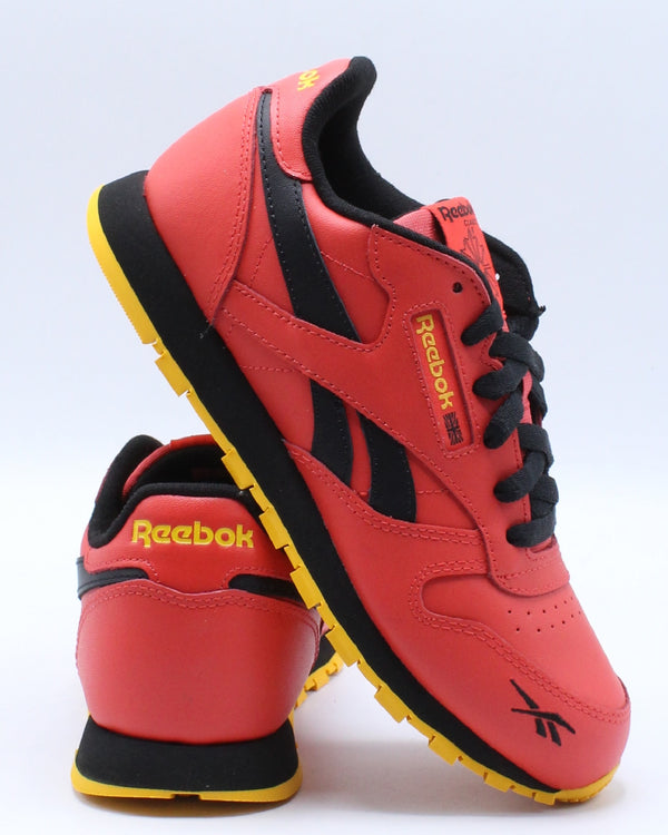 REEBOK-Classic Leather Mu Sneaker (Grade School) - Red Black Gold-VIM.COM