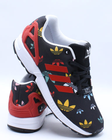 ADIDAS-Zx Flux Sneaker (Grade School) - Black Red White-VIM.COM