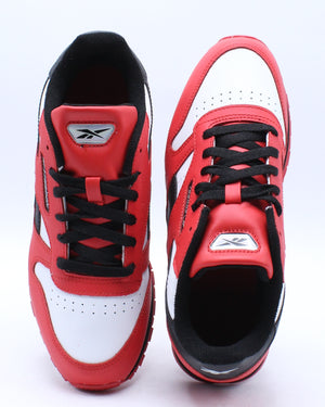 Kid's Classic Leather Iridescent Badge Sneaker (Grade School) - Red White Black