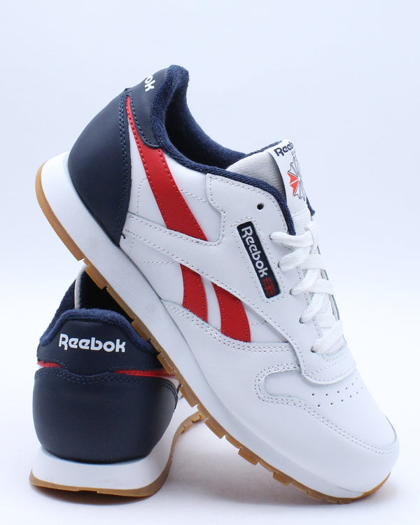 REEBOK-Kid's Classic Leather Sneaker (Grade School) - White Navy Red-VIM.COM