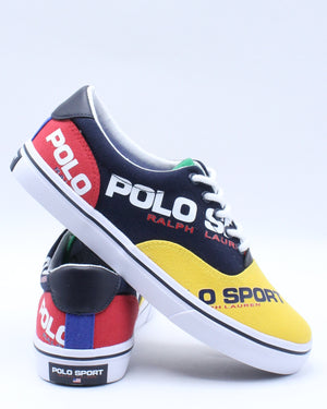 POLO RALPH LAUREN-Kid's Thorton Sneaker (Grade School) - Navy Yellow Red-VIM.COM