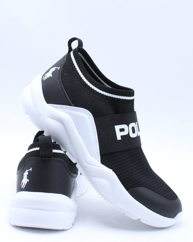 POLO RALPH LAUREN-Chaning Low Sneaker (Grade School) - Black White-VIM.COM