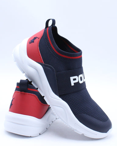 POLO RALPH LAUREN-Chaning Low Sneaker (Grade School) - Navy White Red-VIM.COM