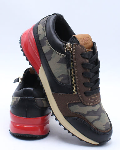 SNKR PROJECT-Camo Double Zip Low Top Sneaker (Grade School) - Brown-VIM.COM