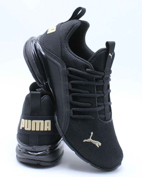 PUMA-Axelion Nm Jr Sneaker (Grade School) - Black Gold-VIM.COM