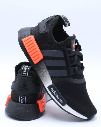 ADIDAS-Nmd R1 J Sneaker (Grade School) - Black Orange-VIM.COM