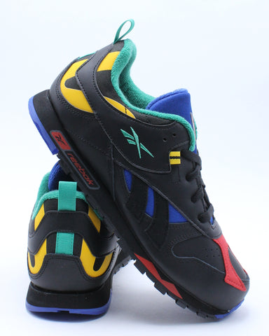 REEBOK-Kid's Classic Leather Rc Sneaker (Grade School) - Black Multi-VIM.COM