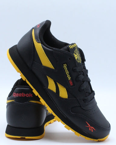 REEBOK-Classic Leather Mu Sneaker (Pre School) - Black Yellow-VIM.COM