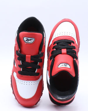 Classic Leather Iridescent Badge Sneaker (Pre School) - Red White