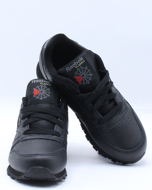 Classic Leather Sneaker (Pre School) - Black