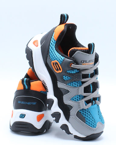 SKECHERS-Dlites 2 Tidal Wave Shoe (Pre School) - Grey Blue Orange-VIM.COM