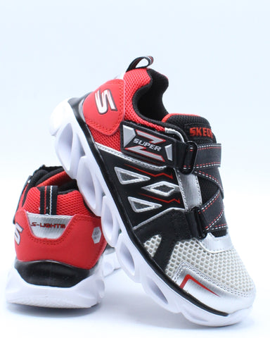 SKECHERS-Hypno Flash Sneaker (Pre School) - Black Red-VIM.COM