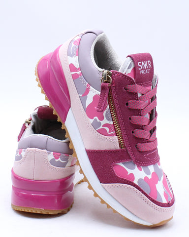 SNKR PROJECT-Camo Double Zip Low Top Sneaker (Pre School) - Pink-VIM.COM