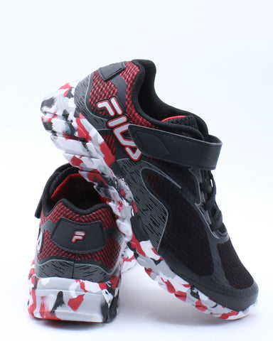 FILA-Kid's Prime Force 4 Strap Sneaker (Pre School) - Black Red-VIM.COM