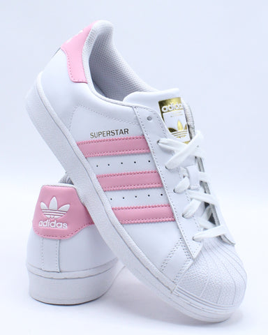 ADIDAS-Superstar Foundation Sneaker (Grade School) - White Pink-VIM.COM