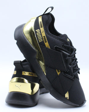 PUMA-Muse X-2 Metallic Jr Sneaker (Grade School) - Black Gold-VIM.COM