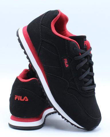 FILA-Cress Sneaker (Grade School) - Black Red-VIM.COM