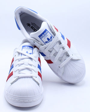 Kid's Superstar J Sneaker (Grade School) - White Scarlet