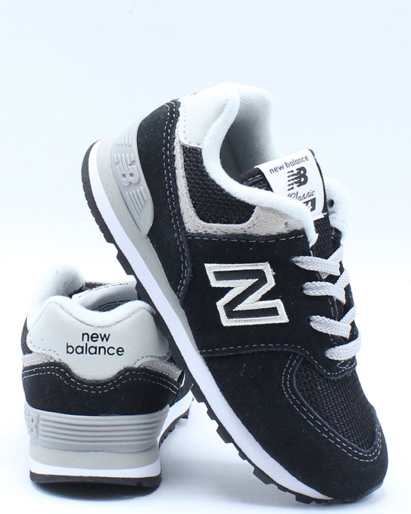 NEW BALANCE-574 Suede Mesh Sneaker (Toddler) - Black White-VIM.COM
