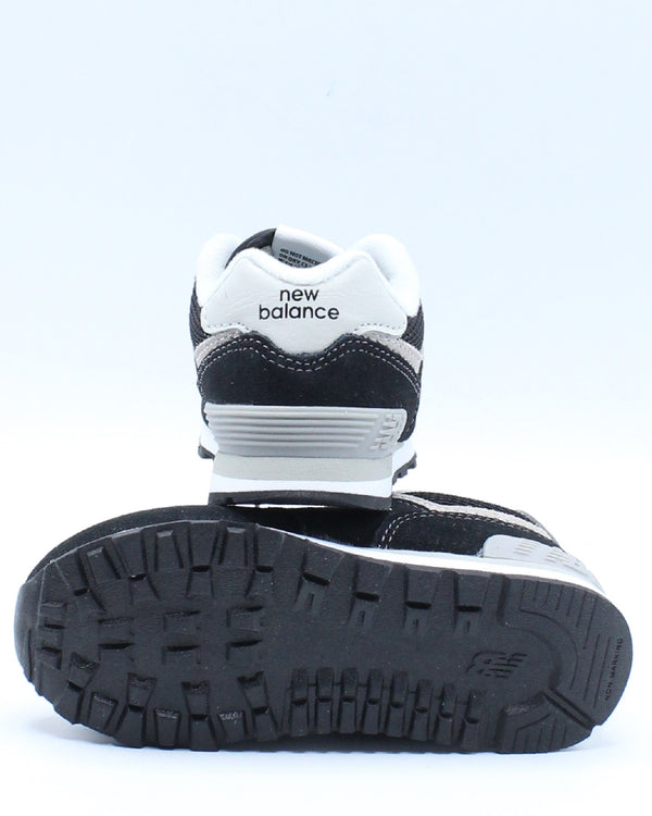 574 Suede Mesh Sneaker (Toddler) - Black White