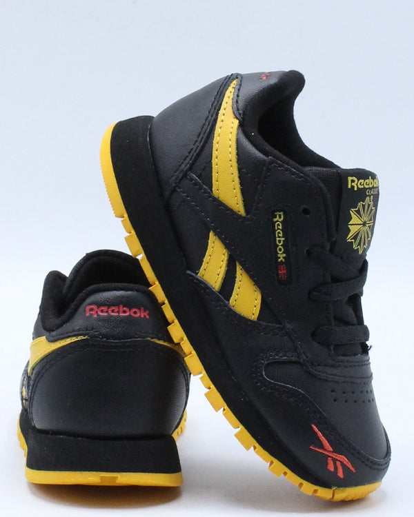 REEBOK-Classic Leather Mu Sneaker (Toddler) - Black Yellow-VIM.COM
