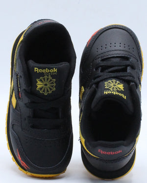 Classic Leather Mu Sneaker (Toddler) - Black Yellow