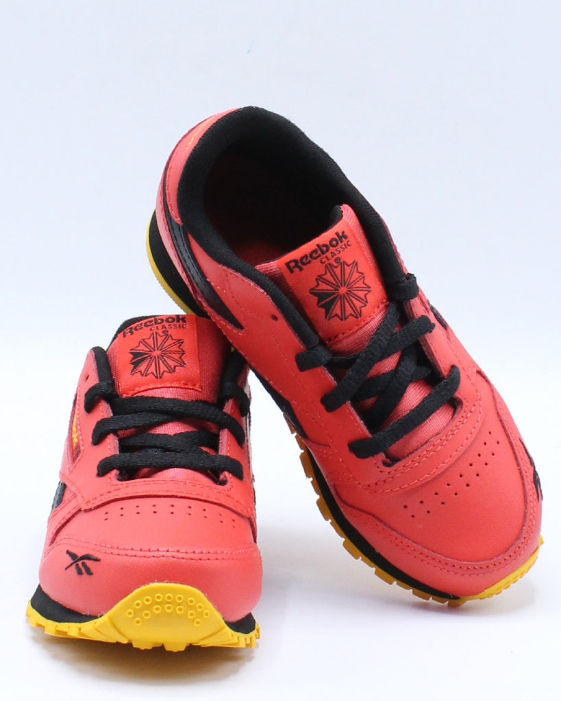 Classic Leather Mu Sneaker (Toddler) - Red Black Gold