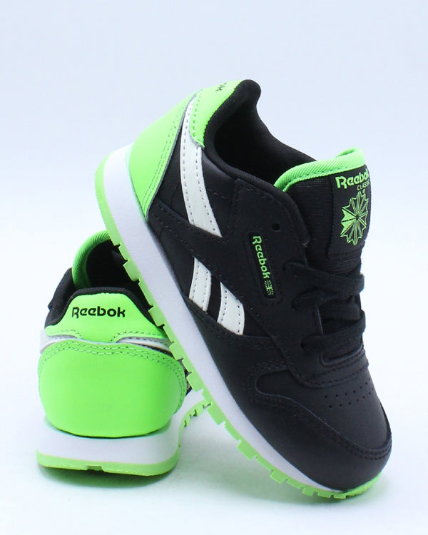 REEBOK-Kid's Classic Leather Sneaker (Toddler) - Black Green-VIM.COM