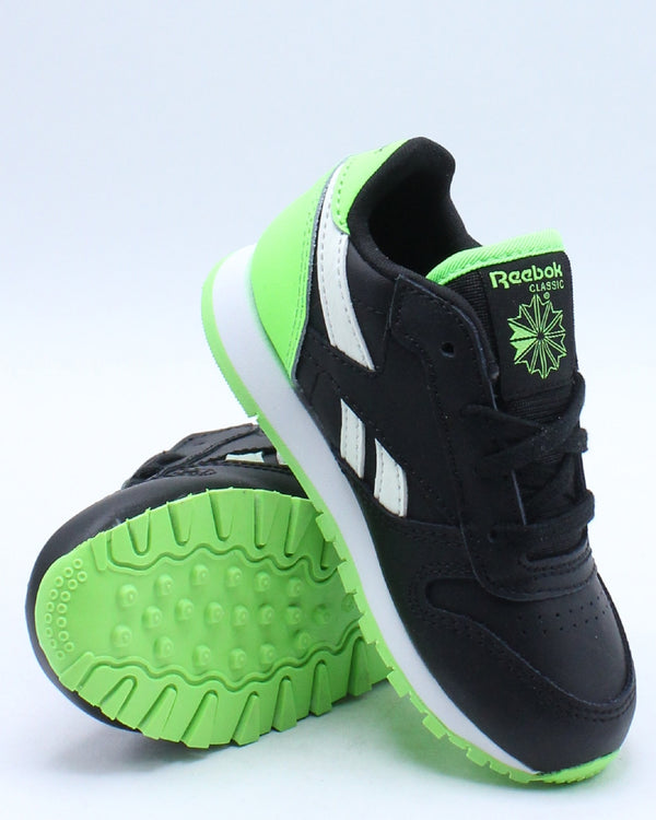 Kid's Classic Leather Sneaker (Toddler) - Black Green
