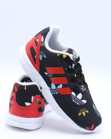 ADIDAS-Zx Flux Sneaker (Toddler) - Black Red-VIM.COM